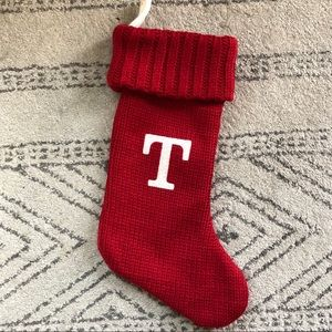 """Like New Letter """"T"""" Initials Stocking"""